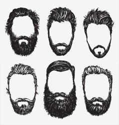 Hipster hair and beard set vector image