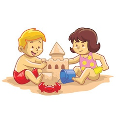 kids build sandcastle vector image vector image