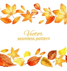 Seamless pattern of autumn leaves two lanes vector image vector image