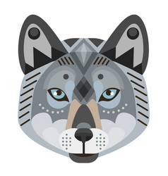 wolf head logo decorative emblem vector image vector image
