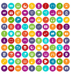 100 multimedia icons set color vector image