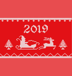 2019 knitted on red vector