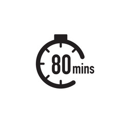 80 minutes timer stopwatch or countdown icon time vector