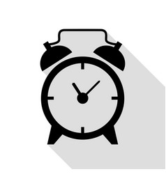 alarm clock sign black icon with flat style vector image