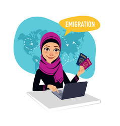 Arab woman draws up documents for emigration vector