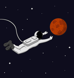 Astronaut in space reach the mars and space vector