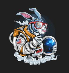 astronaut rabbit hipster artwork vector image