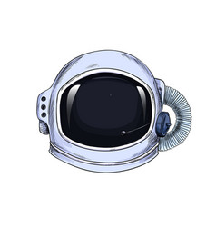Astronaut suit helmet full color hand drawn vector