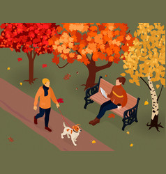 autumn fall isometric composition vector image