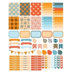 Autumn planner sticker set for a week vector