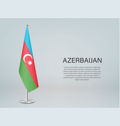 Azerbaijan hanging flag on stand template vector