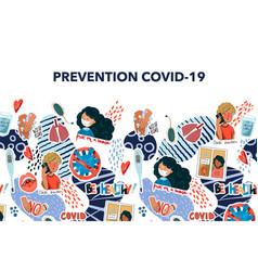 Banner with coronavirus prevention reminder vector