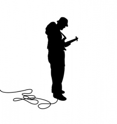 bassist silhouette vector image