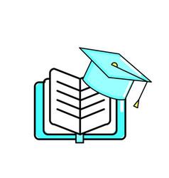 Book and graduation cap design vector