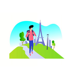 boy alone traveling in nature vector image