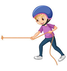Boy pulling rope on white background vector