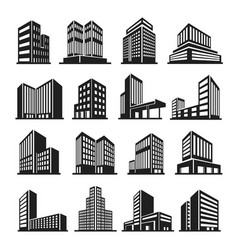 Buildings icon in perspective cityscape vector