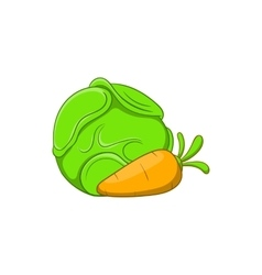 Cabbage and carrots icon cartoon style vector image