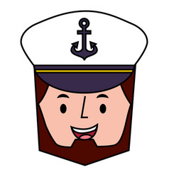 Captain man character with hat vector