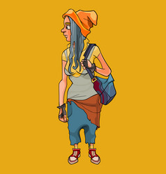 cartoon girl with a backpack in informal untidy vector image