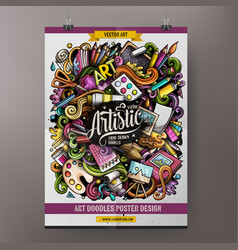 cartoon hand drawn doodles artist poster vector image