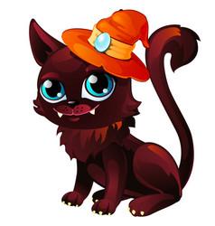 Cat in orange hat with moonstone mystical animal vector