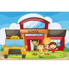 Children standing in the school campus vector