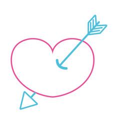 Color line arrow design inside heart love icon vector