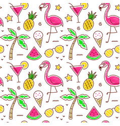 Colorful seamless summer pattern with palm vector