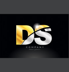 Combination letter ds d s alphabet with gold vector