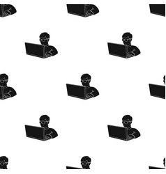 computer hacker icon in black style isolated on vector image