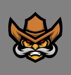 Cowboy head mascot logo vector