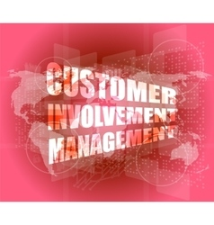 Customer involvement management word on business vector