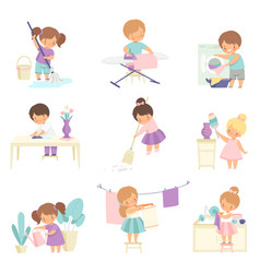 Cute adorable kids doing housework chores at home vector