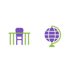 desk and globe flat icons geography vector image