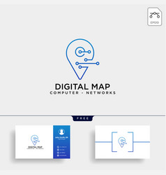 digital pin map line logo template icon element vector image