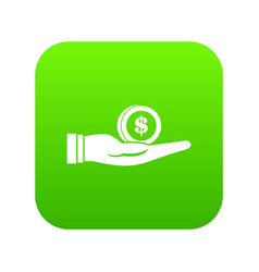 dollar in hand icon digital green vector image