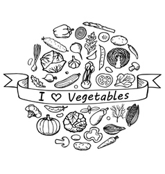 Doodle Set I love Vegetables vector
