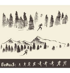 Drawn man running through the forest vector