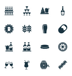 drink icons set with bottle cap opener glasses vector image