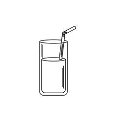 Drinks glass cup with straw beverage fresh line vector