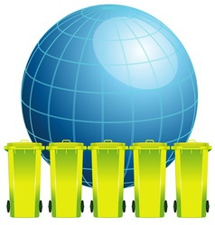 Earth globe with garbage binconcept of environmen vector image