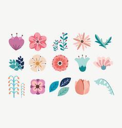 element floral flower pack set vector image