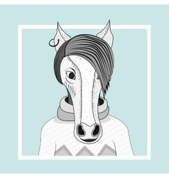 Fashion of horse hipster vector image vector image