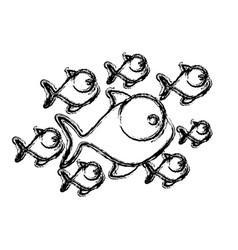 Figure fishes cartoon icon vector