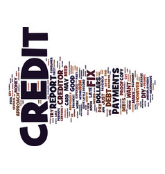 Fix your credit text background word cloud concept vector