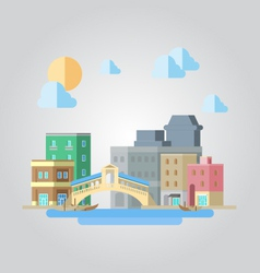 Flat design of venice bridge cityscape vector image