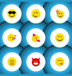flat icon face set of smile have an good opinion vector image