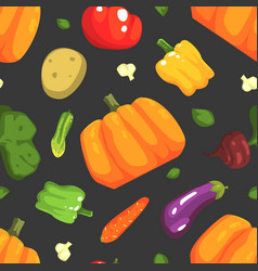 fresh organic vegetables seamless pattern farm vector image