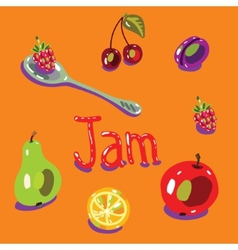 fruit set spoon vector image